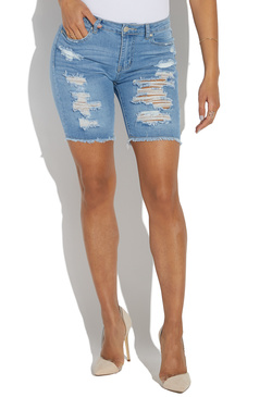 b1ff033aac DISTRESSED FRAYED HEM DENIM BERMUDA SHORT - ShoeDazzle
