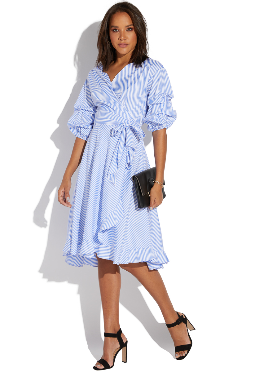 af1bb951383c15 PUFF SLEEVE STRIPED WRAP DRESS - ShoeDazzle