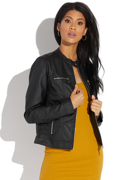 4243436495a19 COLLARLESS FAUX LEATHER JACKET ...