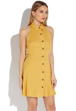25b9e10ecaf9c8 BUTTON FRONT HALTER DRESS ...