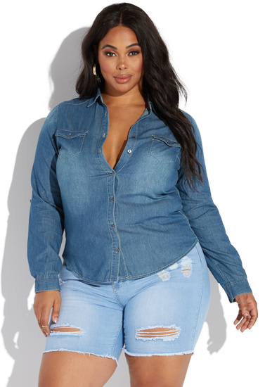PLUS SIZE CHAMBRAY SHIRT - ShoeDazzle
