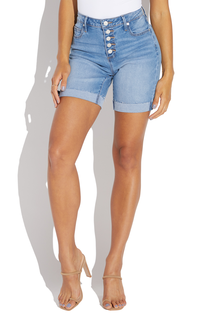 one button high waisted shorts
