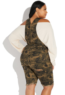 e33527f2a00 PLUS SIZE DISTRESSED BERMUDA OVERALL PLUS SIZE DISTRESSED BERMUDA OVERALL