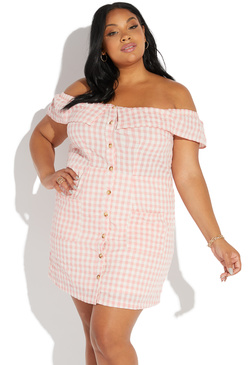 faef8e4a1a73 PLUS SIZE OFF SHOULDER GINGHAM DRESS ...
