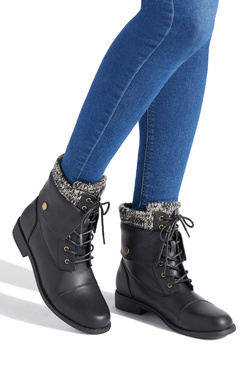 BRIANNA SWEATER CUFF COMBAT BOOT