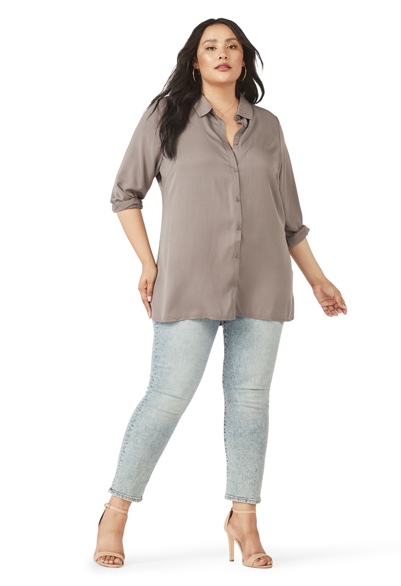 PLUS SIZE BUTTON DOWN TUNIC