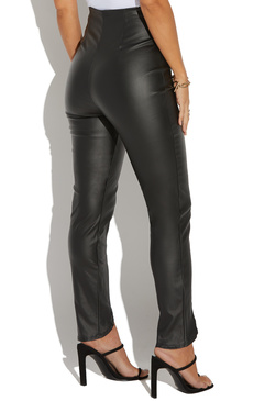 COATED HIGH WAIST ZIP ANKLE SKINNY PANT