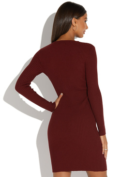 CREW NECK RIBBED KNIT DRESS
