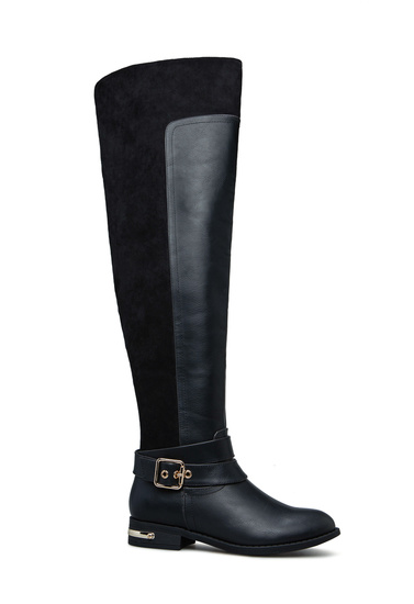 Color:Taupe Size:5.5 ANNA ENY-11 Women Fashion Buckle Side Zipper Combat Riding Knee High Flat Boot