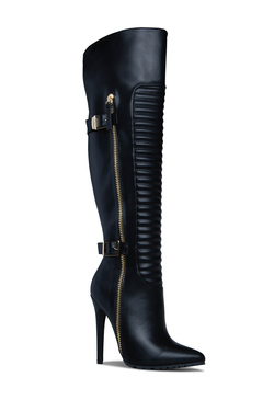 MOTO LOCO BUCKLED STILETTO BOOT