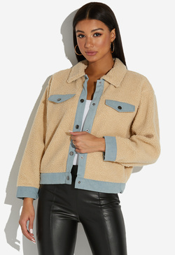 DENIM TRIM SHERPA JACKET