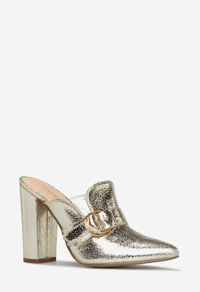 """SHOEDAZZLE FAUX LEATHER OR FAUX SUEDE 4/"""" BLOCK HEEL POINTED TOE MULES SLIP-ON"""