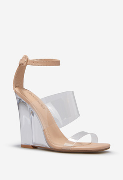 GIANINA CLEAR STRAPPY WEDGE