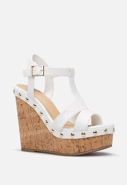 REAGAN STUDDED CORK WEDGE