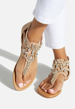 CASPAR JEWELED FLAT SANDAL