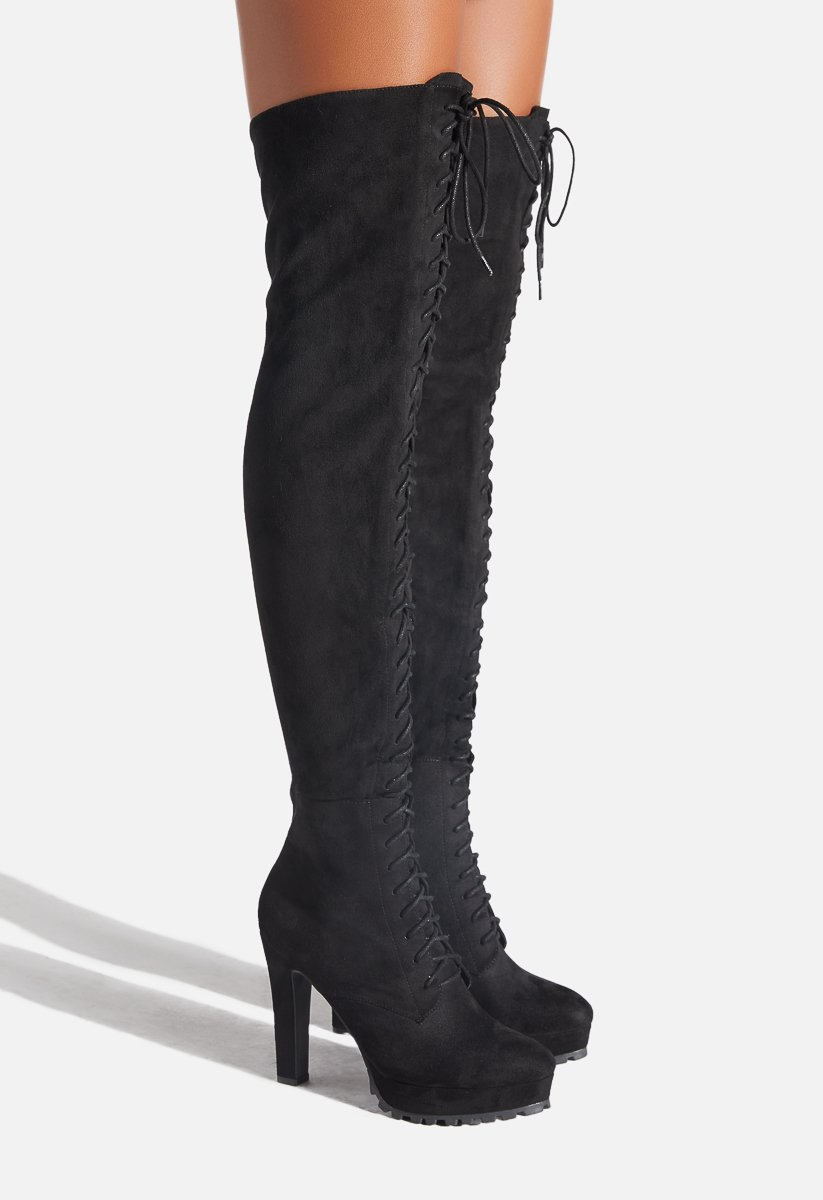 Womens Faux Suede Thigh High Boots Buckle Over The Knee Boots Flats Shoes sz